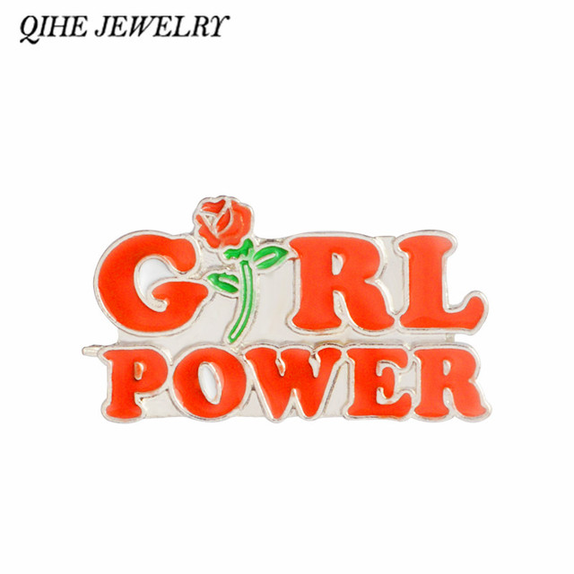 QIHE JEWELRY Rose Flower Red Girl Power pin Feminist brooch grl pwr Feminism Badge Lapel pins Brooches for women