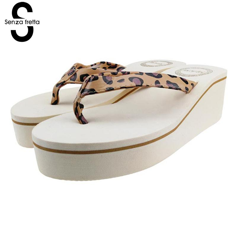 Senza Fretta Women Shoes Platform Beach Slippers Flip Flops Wedge Beach Flip Flops Slippers For Women Brand Eva Ladies Shoes senza fretta women shoes bohemia slippers flowers flip flops women poe platform wedge flip flops outdoor beach flip flops shoes