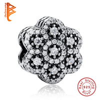 BELAWANG 2016 Winter Collection Original Charm Fit Pandora Bracelet 925 Sterling Silver Snowflake Charms With Clear