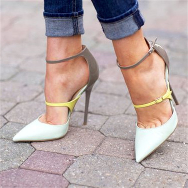 9fba0aa80d Womens Trendy Stylish Double Strap High Heels Elegant Pointed Toe Stiletto  Heel For Women Multicolored Party Single Shoes Size42