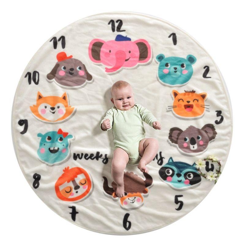Baby Blanket Photography Cat Soft Flannel Newborn Sleep Multi Functional Mat Monthly Round Kids Children Photo Background Prop