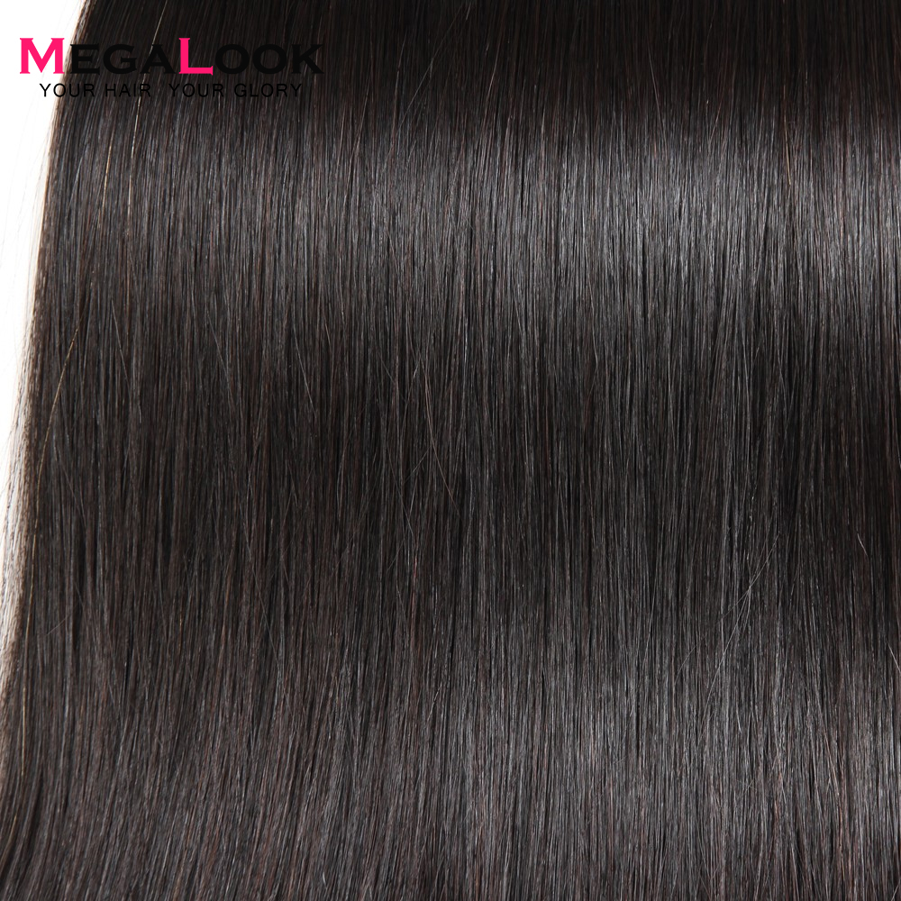 Megalook Peruvian Straight Human Hair Bundles 3pcs 8 40inch 100 Remy Human Hair Extension Natural Color