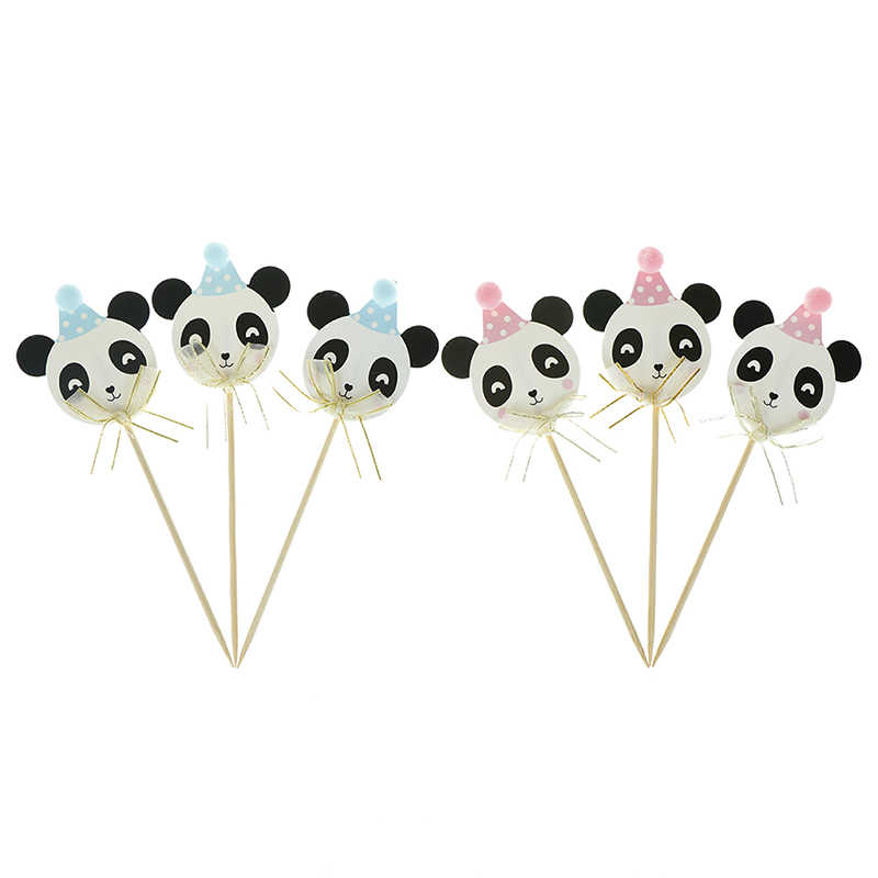 3pcs Pink Blue Kawaii Panda Paper Glitter Cake Topper Party Supplies For Baby Shower Birthday Party Decor