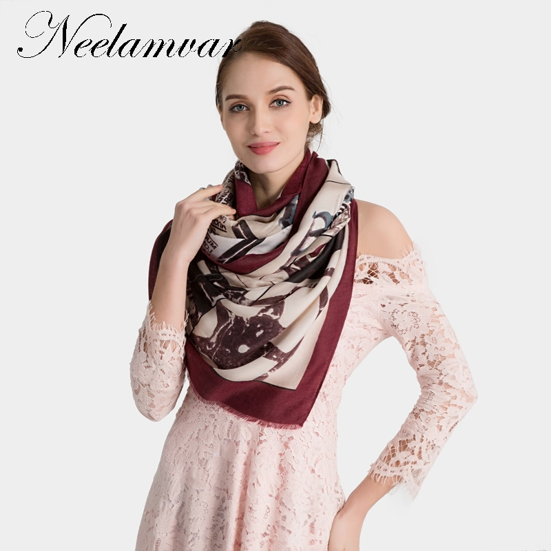Neelamvar New arrival Winter women's casual   scarf   big size shawls fashion pashmina all-match Letters designs hijab   wraps     scarves