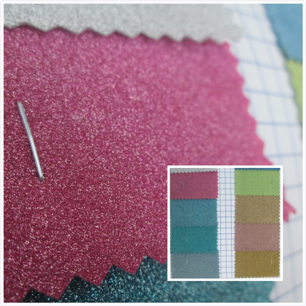 New! Gummed paper Glitter pieces style synthetic leather fabric PVC faux leather textile fabric 13 color for bag decorative