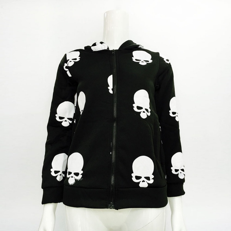 2019 Casual Hoodies Jacket Coat Tops New Product Women's Skull Printing Zipper Sweatershirt Hooded Cardigan 2 Colors
