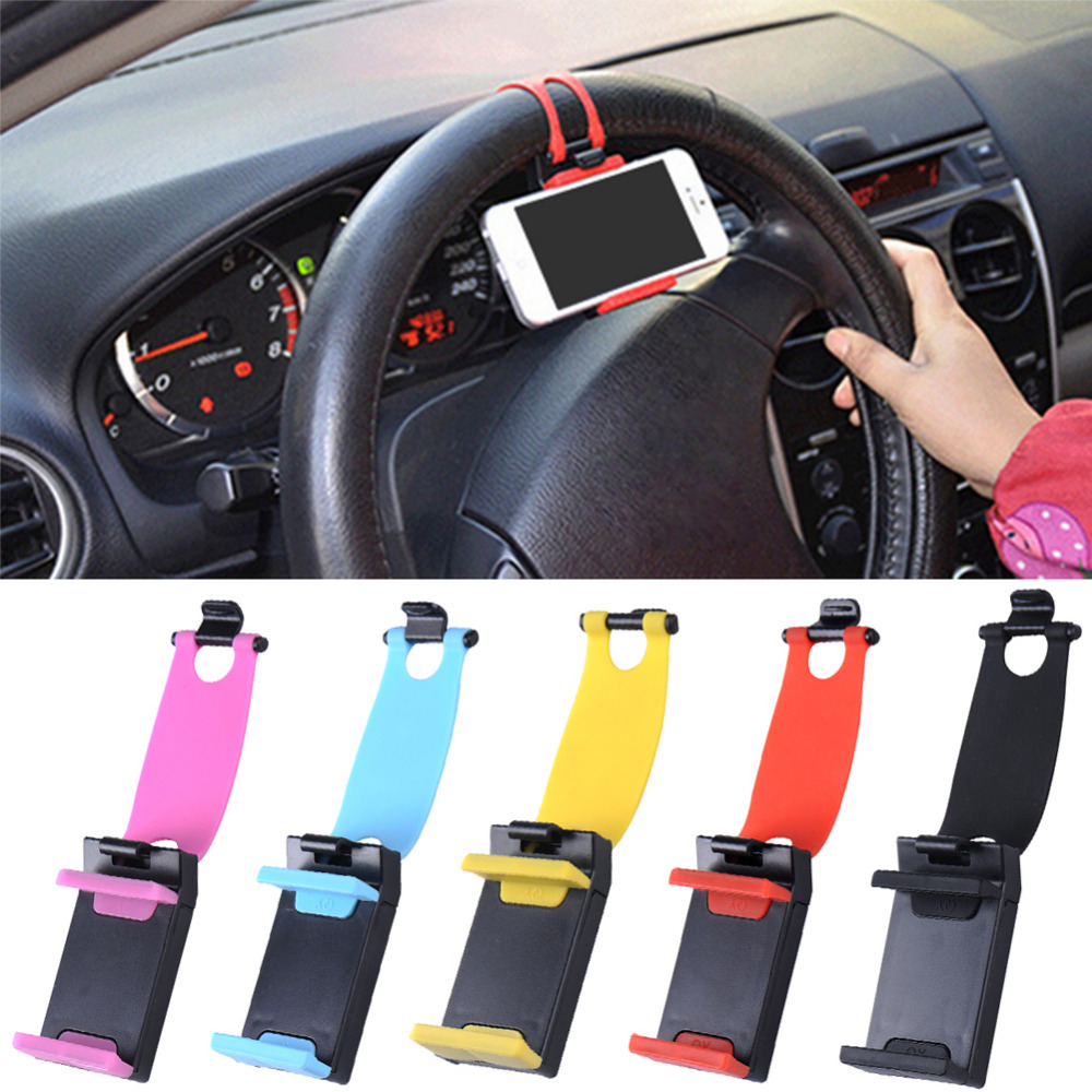 Car Phone Holder Car Steering Wheel Holder Bike Clip Mount Mobile Phone Stand For For iPhone Samsung Galaxy Xiaomi
