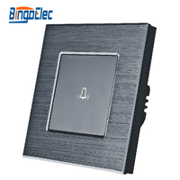 Black Aluminum And Glass Panel Touch Wall Doorbell Switch Bell Switch EU UK Standard AC110 240V