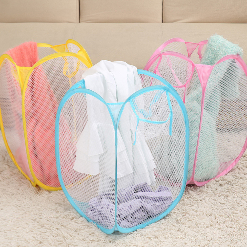 Foldable Pop Up Washing Laundry Basket Bag Hamper Mesh Storage Pueple Dropshipping Mar08