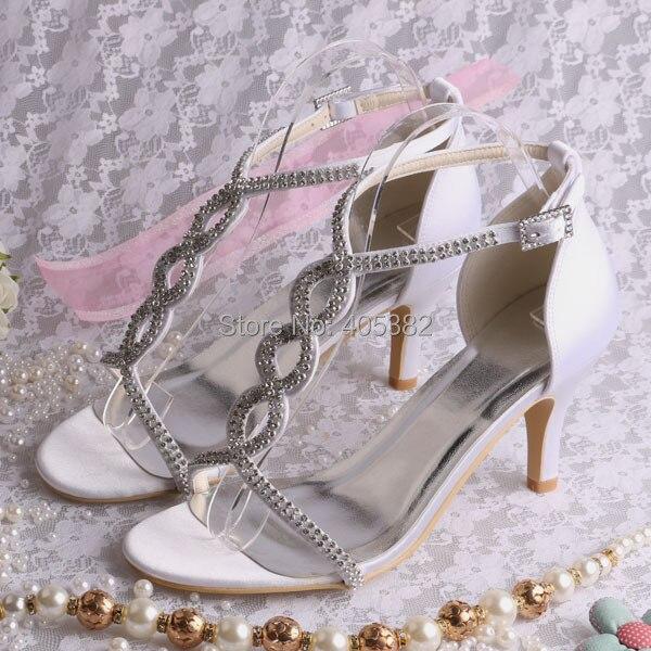 ФОТО Wedopus Custom Handmade 3 Inch Women White Rhinestone Bridal Party Shoes Sandals