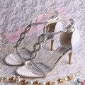 Wedopus Personalizado Handmade 3 Polegada Mulheres Branco Rhinestone Nupcial Sapatos de Festa Sandálias