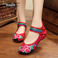 NEW fashion flowers embroidered ethnic style shoes women sexy red Comfort casual Walking flats shoes for ladies free shipping