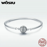 WOSTU Authentic 100 925 Sterling Silver Dazzling Clear CZ Round Clasp Snake Chain Bracelet Sterling Silver