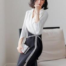 Рубашка платье Женская Весенняя популярная женская Аромат OL профессиональное вечернее платье осень белый и черный