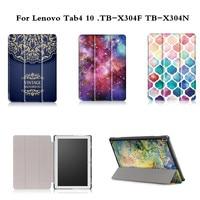 Cute Cartoon Print Stand PU Leather Case For Lenovo Tab4 10 TB X304F TB X304N 2017