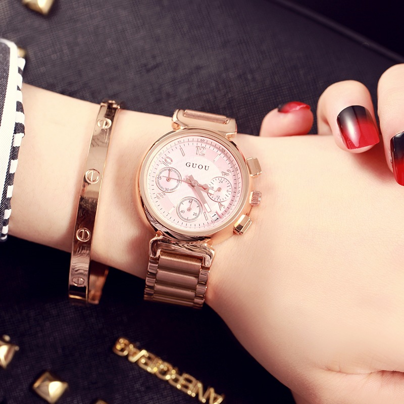 GUOU Women Watch Fashion Luxury Rose Gold Watch Top Brand Famous Quartz Watch Female Clock Relogio Feminino Date Display classic simple star women watch men top famous luxury brand quartz watch leather student watches for loves relogio feminino