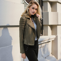 Lily Rosie Girl Casual Suede Leather Women Jacket Ruffle Long Sleeve Short Coats 2018 Spring Female Fuax Coat Outerwear Crop Top