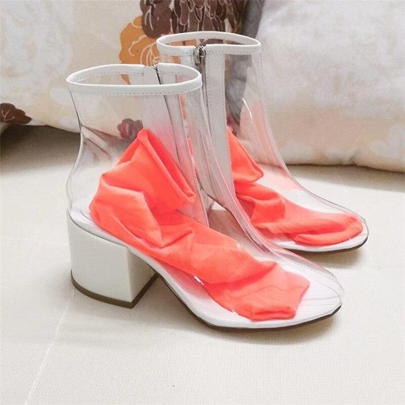 Jelly snoep kleur transparant clear PVC enkellaarsjes voor vrouwen 2018 sexy midden hakken regen schoenen met sok zomer sandalen vrouwelijke - 5