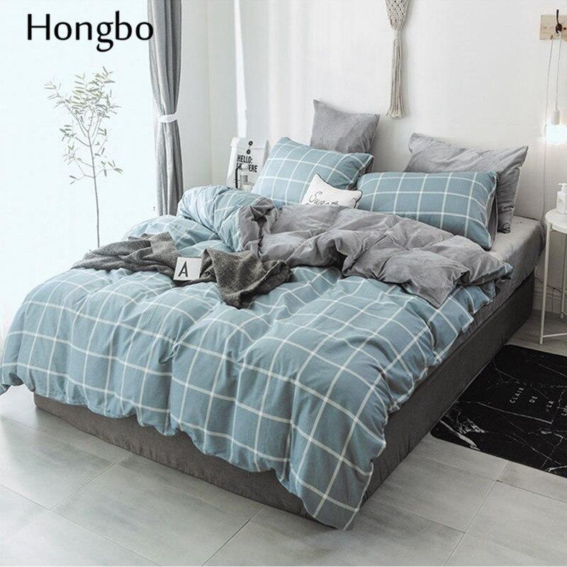 Hongbo зимний теплый клетчатый пододеяльник, Стёганое одеяло, Хрустальная фланелевая геометрическая решетка, печатный хлопок, пододеяльник, д... - 2