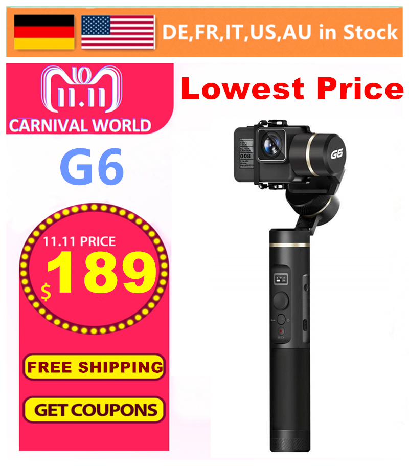 FeiyuTech Feiyu G6 3 Axis Handheld Gimbal Stabilizer for action camera GoPro Hero/6/5/4/3 +/3 YI Cam 4 K/AEE et GoPro sessions S цены