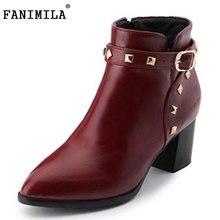 Fanimila Размеры 33-43 Для женщин на высоком каблуке ботинки до середины икры с заклепками полусапожки с молнией полусапожки зимние Botas с Зимние ботинки на меху женская обувь