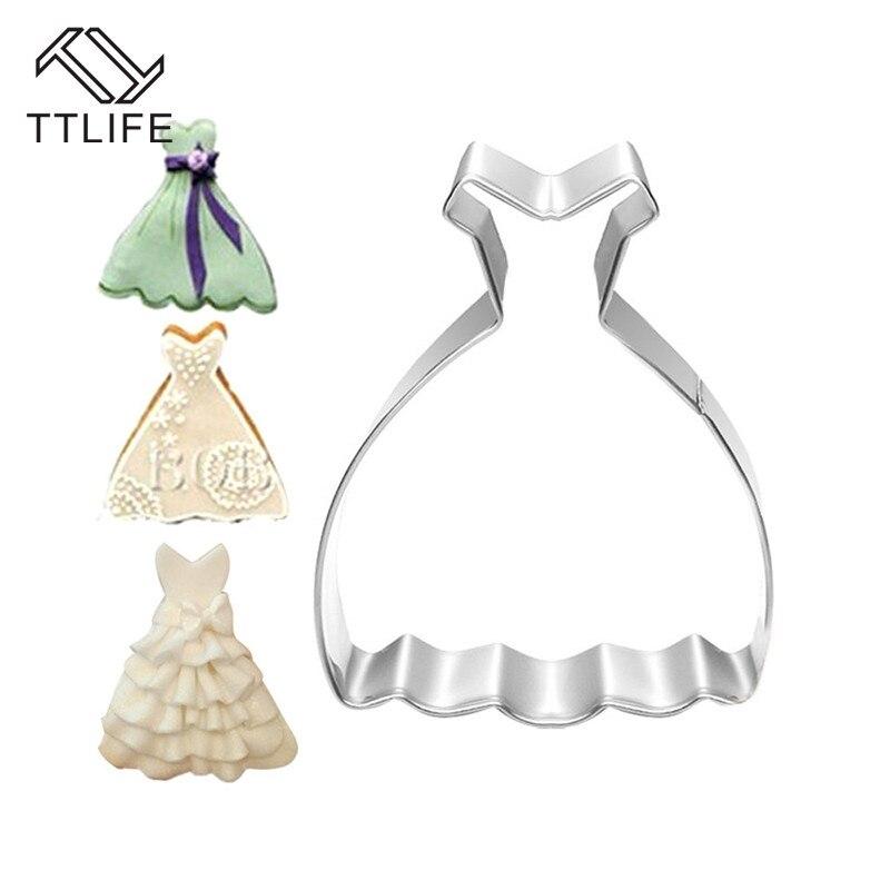 Off-the-hombro vestido de boda falda paño cortadores de galletas Acero inoxidable hornear confitería galleta pastelería molde Accesorios