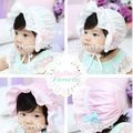 Cute Newborn Baby Kids Infant Lace Bowknot Flower Bonnet Hats Beanie Sun Hat