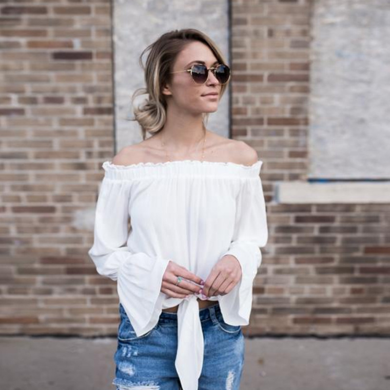 2018 Summer New Fashion A Word Brought Sexy Loose Tshirts Street Shoot Strapless Girls Europea Flounced Half Collar Tops