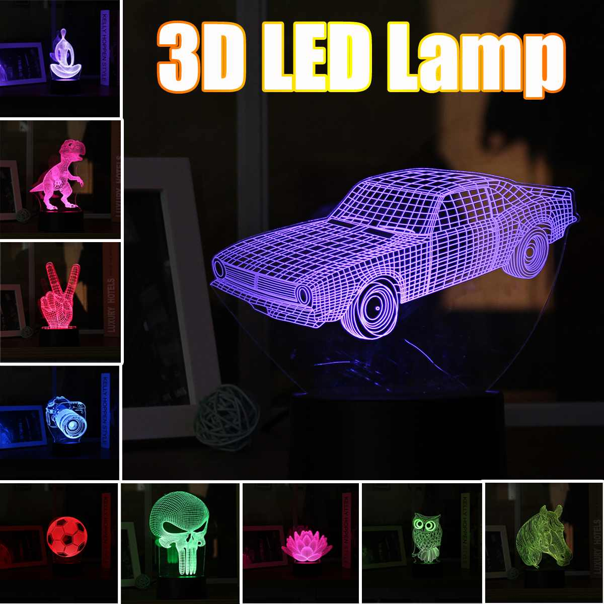 3D LED Lamp RGB Night Light Multicolor Animal Car Acrylic Panel Touchs Switch Lamp Lighting For Children Kids Home Bedroom