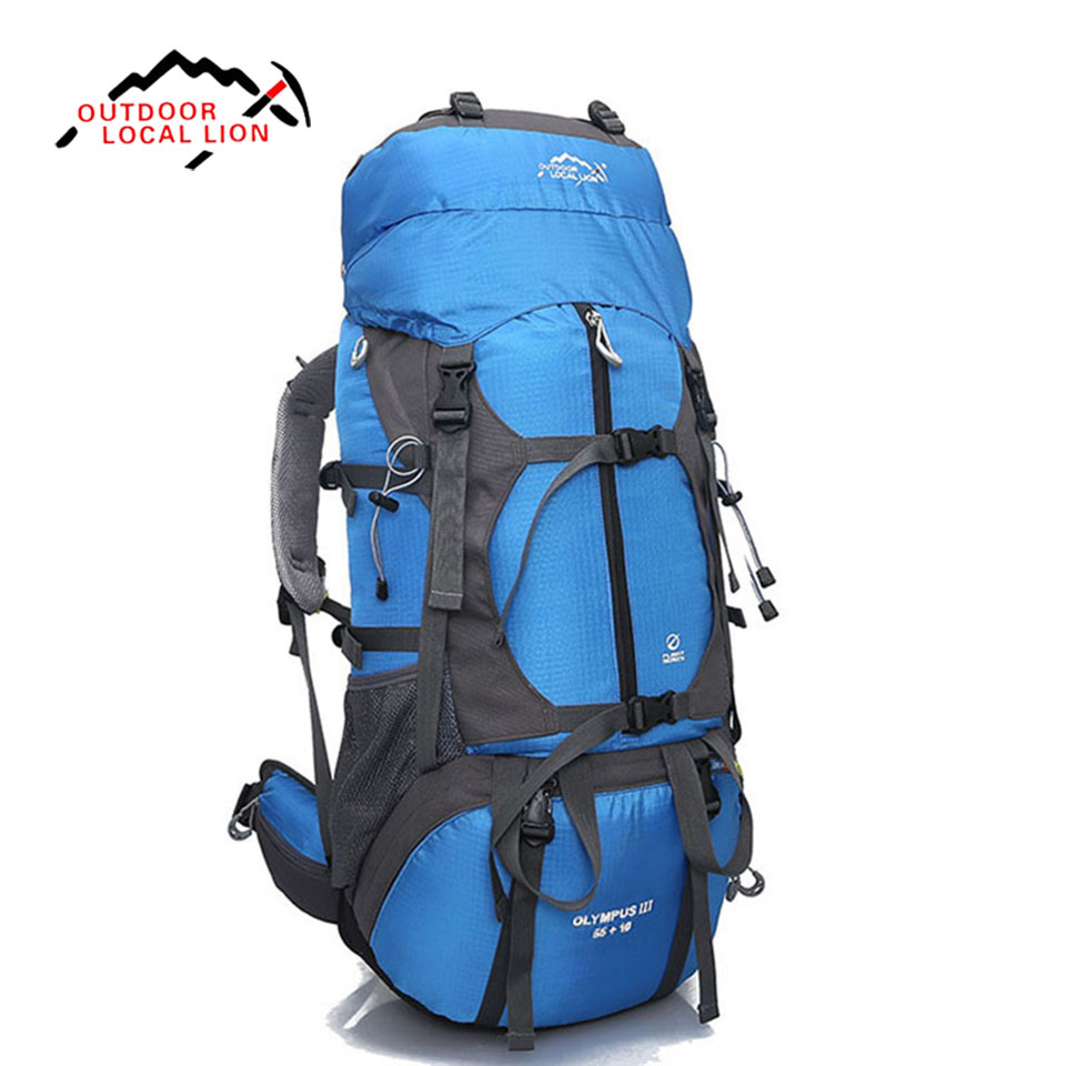 Local lion Professional mountaineering bag large capacity 65L outdoor travel backpack hiking camping men and women