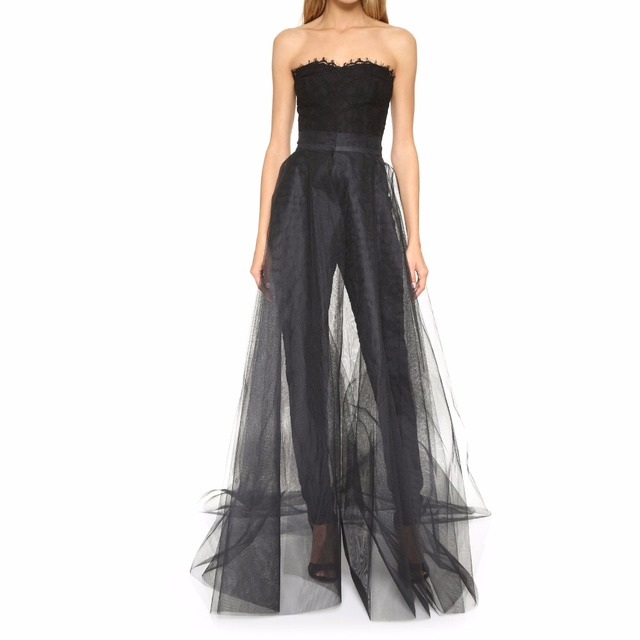 41a2f63ab74036 Fashion 2017 Black Floor Length Tulle Overlay Skirt Long Tutu Skirts One Layer  Overskirt Sexy See Through Tulle Skirt Women
