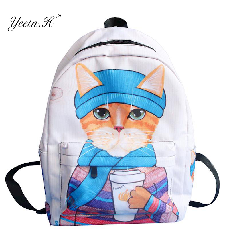 Yeetn.H Cartoon Fun 3D Cat Printing Backpack Large Capacity School Bags For Girls Boys Book Bag Laptop Backpack Mochila Y4196