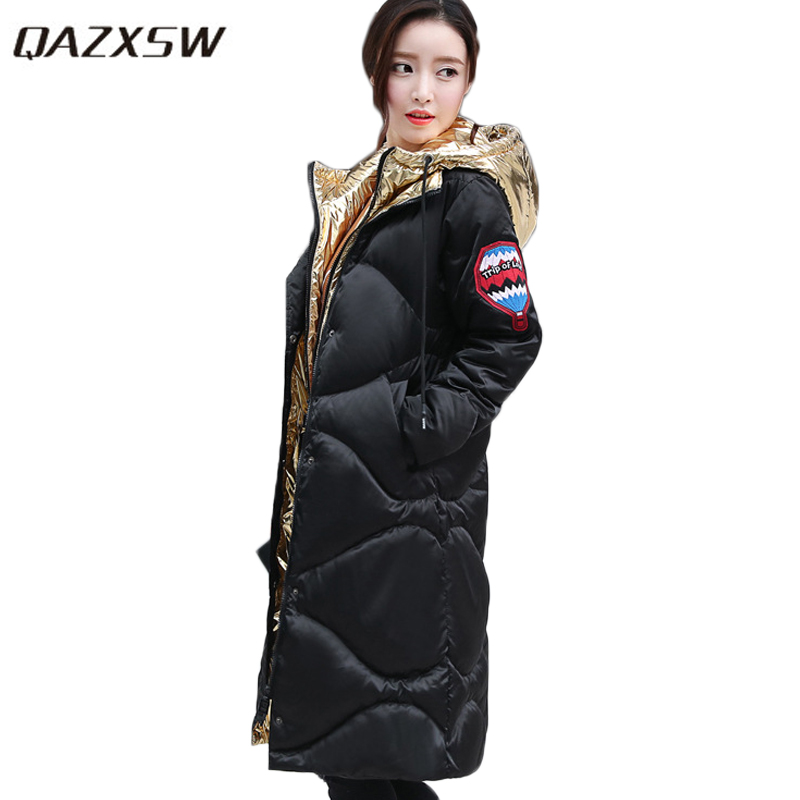 QAZXSW New Cotton Coat Women Winter Jacket Hooded Parkas Mujer Invierno 2017 Slim Winter Coat Patchwork Casaco Feminine HB402 qazxsw new women winter cotton jacket with glove hooded cotton coat slim long parkas mujer invierno 2017 warm outwear hb201