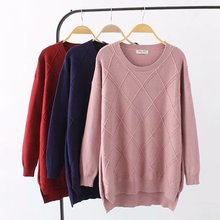 Plus size O-Neck women Knitted pullover 2018 dark red & blue pink argyle hollow out autumn ladies sweater wool female 4XL