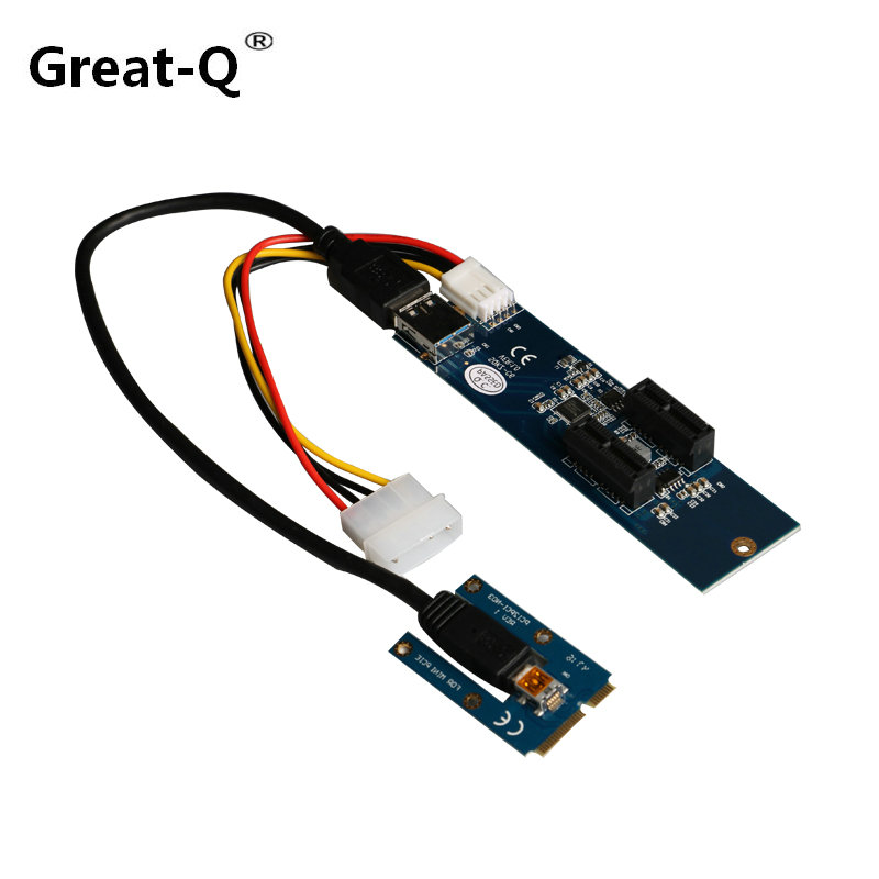 Great-Q mini PCI Express to Dual mini PCI Express Adapter Card mini PCIe x1 to Router Tow 2 Mini PCI-E slot Riser Card
