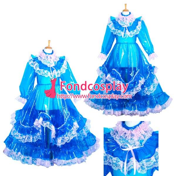 Прозрачный ПВХ запираемый EVA пластик горничная Сисси синий длинное платье CD/tv индивидуальный заказ [G3850]