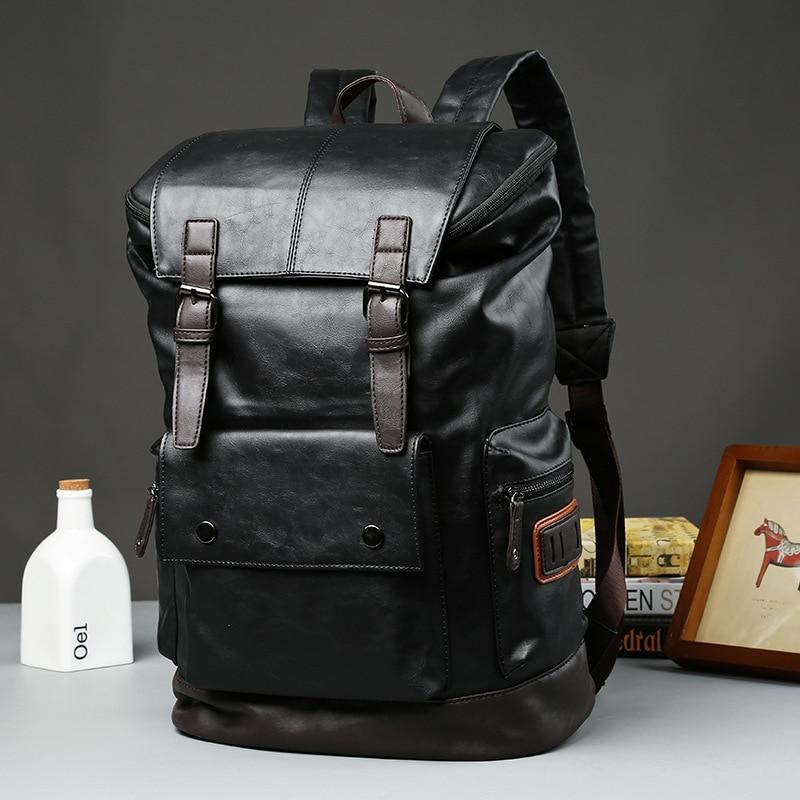 ETONWEAG Brands Leather Schoolbag Backpack Men Black Vintage School Bags For Teenagers Big Capacity Backpacks Travel Luggage brands leather school backpacks for boys black fashion designer school bags hooded travel men backpack rainproof luggage new