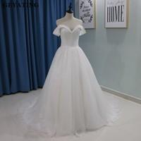Luxury Glitter Dubai Princess Wedding Dresses 2018 Ball Gowns Off Shoulder Court Train Corset Bling Sparkly