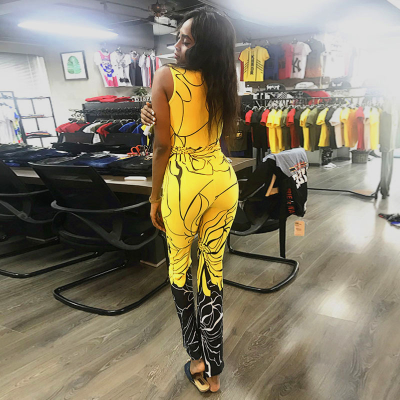 New Summer Trendy Rompers Womens Jumpsuit Fashion Boho printing Sexy Deep V neck sleeveless Romper Women bodycon Jumpsuits Pants in Jumpsuits from Women 39 s Clothing