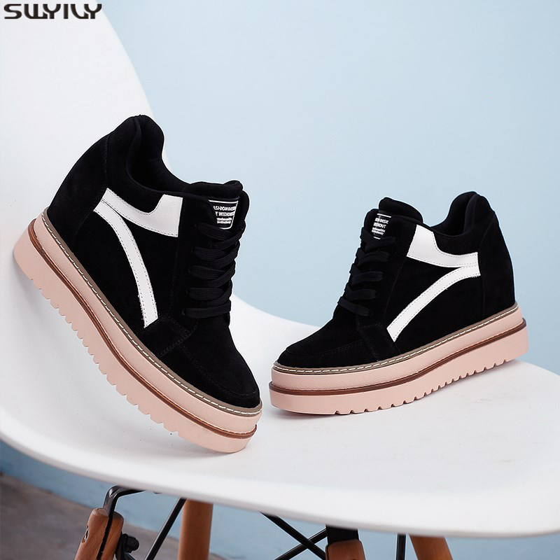 SWYIVY Winter Shoes Women Platform Sneakers Black Wedge Casual Shoes Female 2019 Velvet Warm Chunky Heels Sneakers For Women