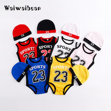 2Pcs Baby Rompers Summer Boy Clothing Set Sport Rompers+Hats Newborn Clothes Infant Jumpsuits