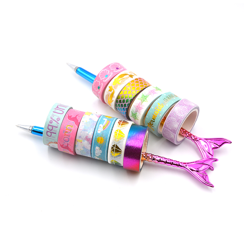 6Rolls/lot Unicorn Mermaid Foil Grid Floral Cute Paper Masking Washi Tape Set Japanese Stationery Scrapbooking Supplies