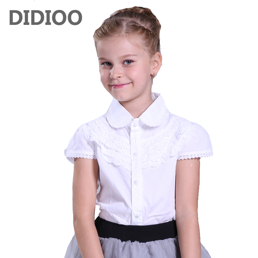 Big Girls White Blouse Cotton Lace School Girl Blouse For Girls Shirts Kids Clothes School Uniforms 6 7 8 9 10 11 12 13 14 Years two tone lace insert blouse