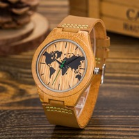 New 2018 Wood Retro Men Casual Wooden Watches Men Lifelike Special Design map Dial Face Bamboo relogio masculino Ideal Gifts Tim