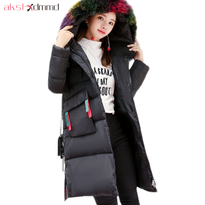 AKSLXDMMD Thick Casual Winter Jacket Women 2017 New Parkas Colorful Fur Hooded Big-pocket Fashion Cotton Long Coat Female LH1219 akslxdmmd fashion casual winter thick hooded jacket 2017 new parka women parttern letters mid long coat female overcoat lh1227