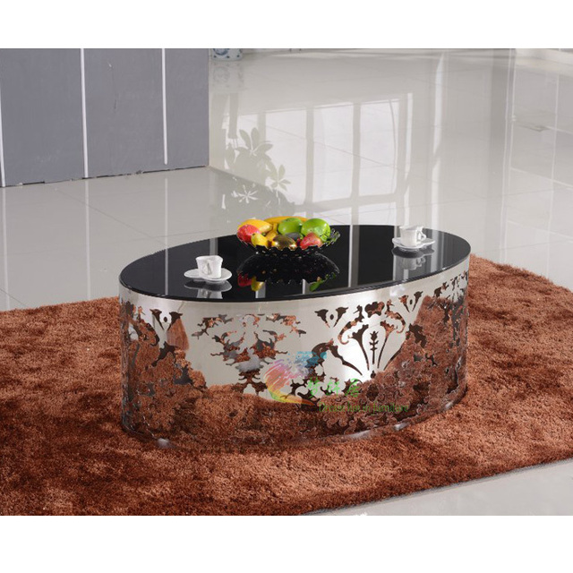 Merveilleux 2013 Hot Stainless Steel Hollow Carved Glass Oval Coffee Table Living Room  Sofa Stylish Coffee Table