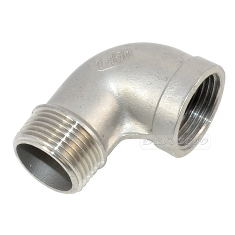 MEGAIRON BSPT 1 DN25 Stainless Steel SS304 Female-Male Fuel Street Elbow Threaded Pipe Fittings For Water Gas Oil megairon bspt 3 4 dn20 stainless steel ss304 male to male threaded pipe fittings length 150mm