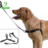 KIMHOME 1 Leash 1 Harness S M L High Quality Black Nylon Outdoor Pet Walking Lead