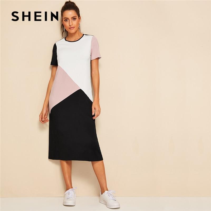 SHEIN повседневное разноцветное платье-туника с вырезом и швом, Летнее Длинное платье для женщин, 2019, круглый вырез, короткий рукав, прямое пла...