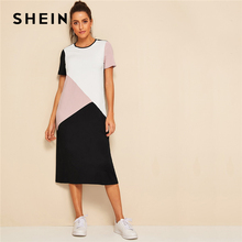 80cde47a2d2 SHEIN Casual Multicolor Cut-and-Sew Tunic Summer Long Dress Women 2019 O-